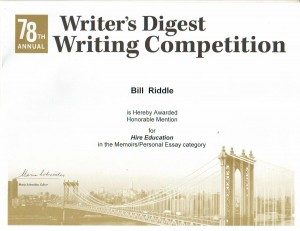 Writer's Digest Writing Award